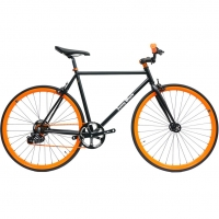 ruderberna【sunny-black】unique-shimano-5-+-1-black-orange-city-bike